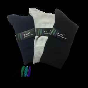 3 pak iZ Sock bambus - 3 flotte farver, navyblå, sort og lysegrå, 1 af hver
