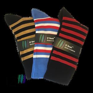 3 pak iZ socks bambus, lækre stribet strømper (sort-brun, sort-rød, blå-rød-hvid, 1 af hver)