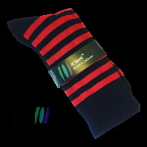 Bambus strømpe sort med rød stribe