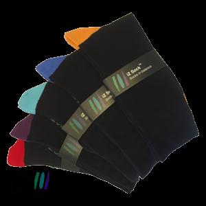 Bambus strømper med farvet hæl og tå fra iZ Sock - 5 pak. 1 i hver farve