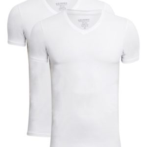 Hvid T-shirt med V-hals i bambus fra JBS. 2 pak
