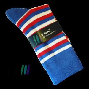 Stribede bambus strømper, friske farver - Sailor (blå, røde, hvide striber)