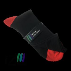iZ sock, bambus strømper med rød hæl og tå - Str. 35 - 38