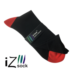 iZ sock, bambus strømper med rød hæl og tå.