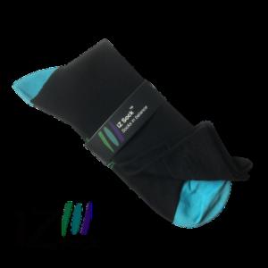 iZ sock, bambus strømper med turkis hæl og tå.