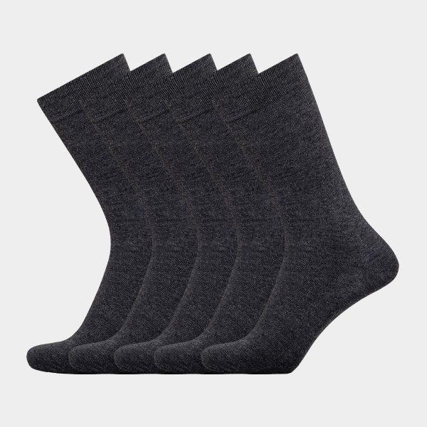 5 par grå sokker I bambus uden elastik til herre fra Egtved