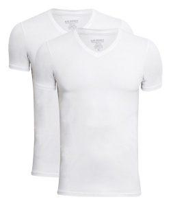 JBS 2-pak bambus t-shirt med V-hals i hvid til herre 2XL Hvid