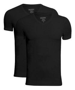 JBS 2-pak bambus t-shirt med V-hals i sort til herre Black XL