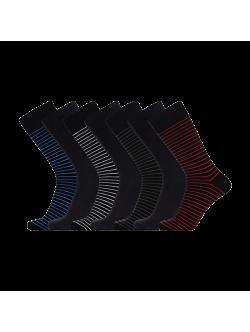 JBS 7-pak bambusstrømper i forskellige farver med striber til herre - Gaveæske 37 - 40