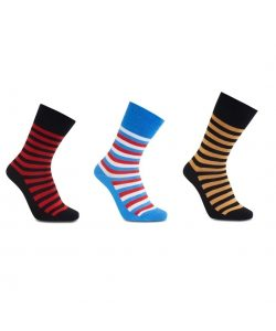 iZ Sock 3pak stribede bambusstrømper i sort, orange, sort og rød, blå ,rød og hvid til unisex 39-41