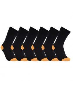 iZ Sock 6pak bambusstrømper i orange hæl og tå til unisex 35-38 Orange