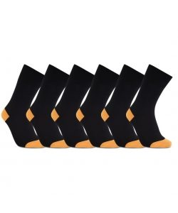 iZ Sock 6pak bambusstrømper i orange hæl og tå til unisex Orange 44 - 47