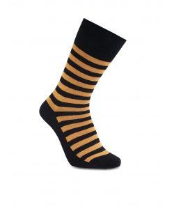 iZ Sock stribede bambusstrømper i sort og orange til unisex 42 - 43