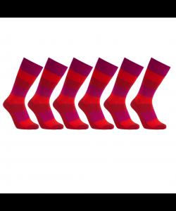 iZ Sock 6pak bambusstrømper med tykke striber i rød 60ed0f4692cf5